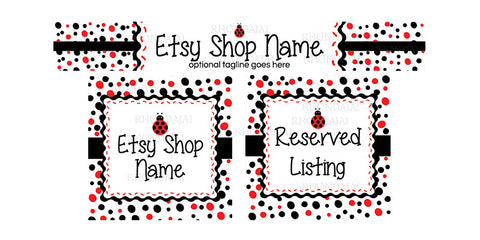 Etsy Shop Banner Set - 3 Piece Etsy Banner Set - Ladybug Confetti Fun