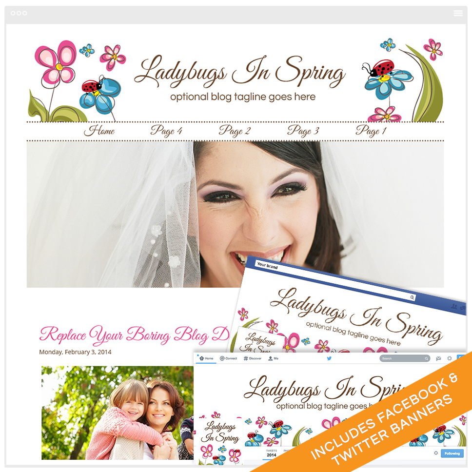 Blogger Design Bundle With Social Media Identities - Ladybugs In Spring