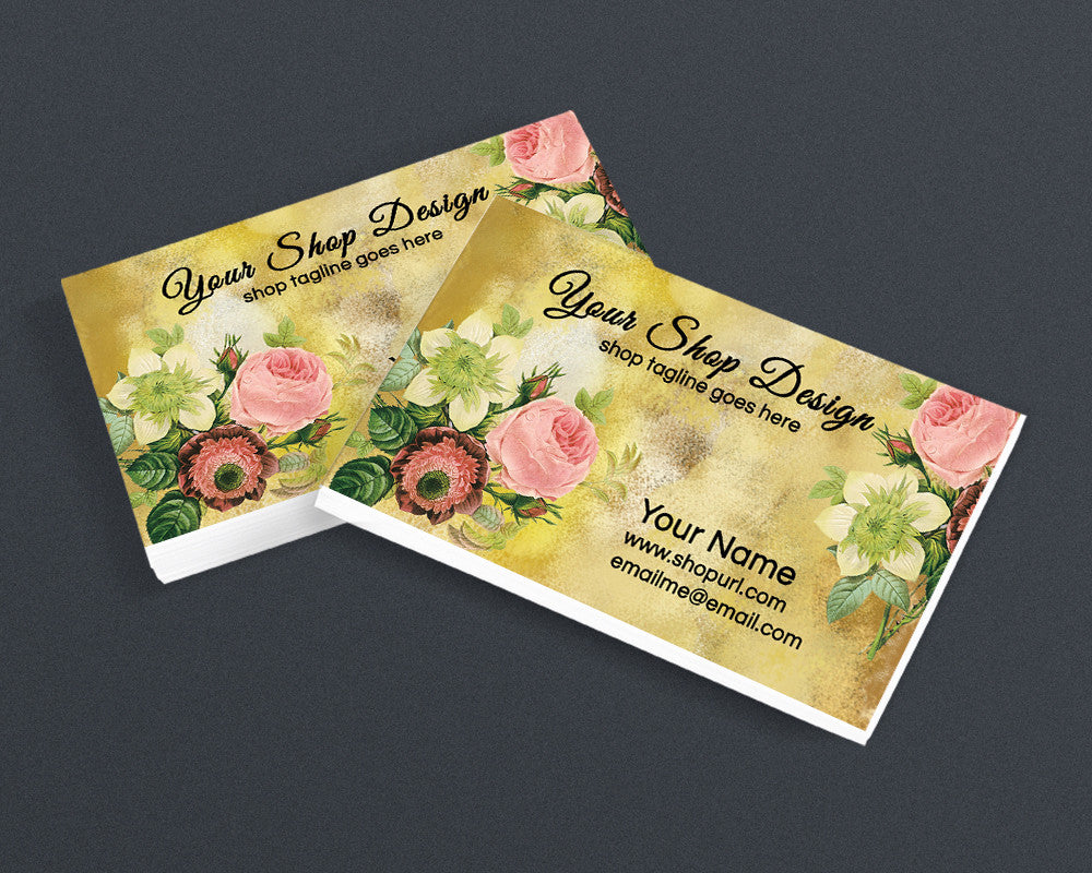 Premade Printable Business Card Design - Floral PS1