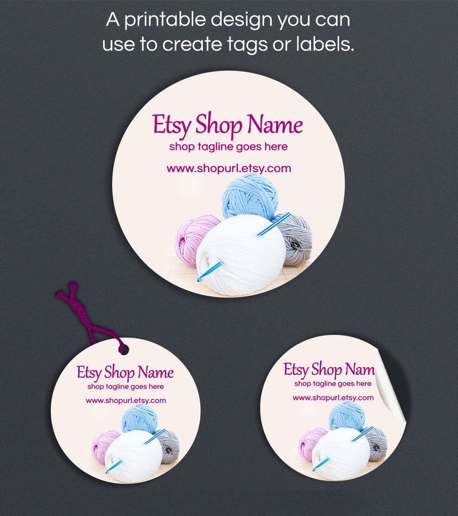 Printable Round Label  or Hang Tag Design - Crochet 1