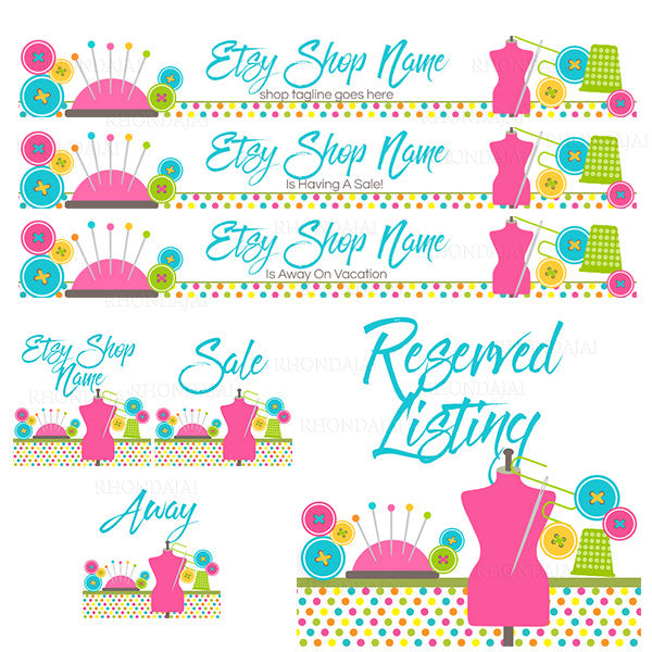 Large Etsy Shop Banner Set - Etsy Shop Banners - Etsy Banners - Sewing 2a