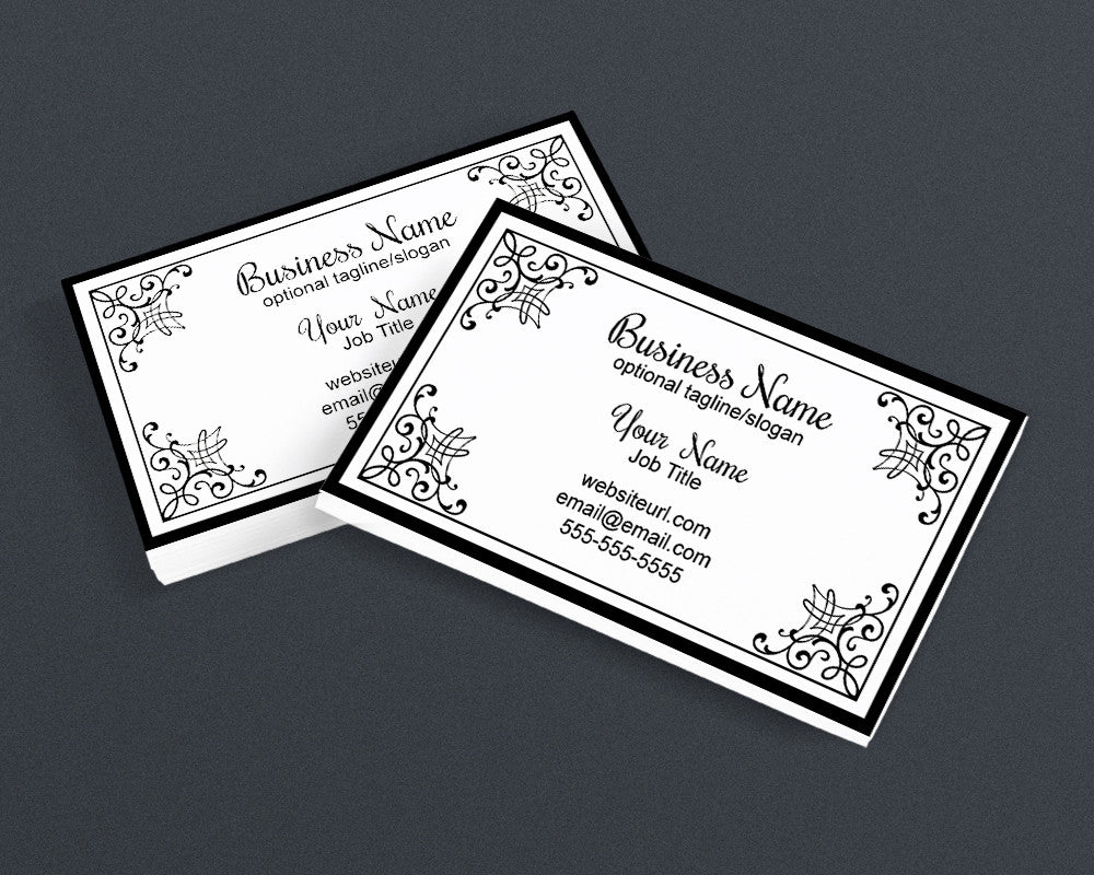Business Card Design - Black and White - Elegant PS3 - Printable Business Card