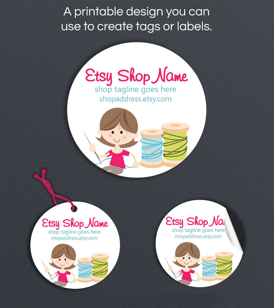 Round Product Labels or Hang Tags - Printable Round Label Design - Sewing 5