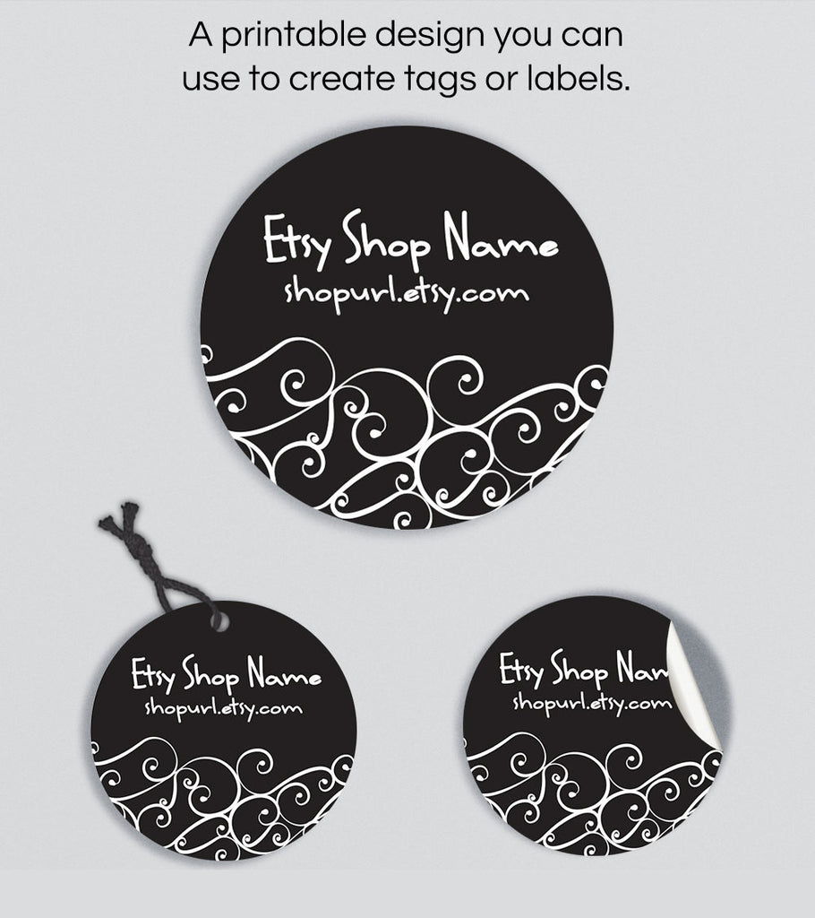 Round Hang Tags or Product Labels - Printable Round Label Design - Ornamental 3ea