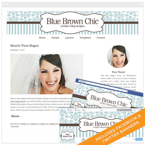 WordPress Design Bundle With Genesis Framework and Social Media Identities - Blue Brown Chic
