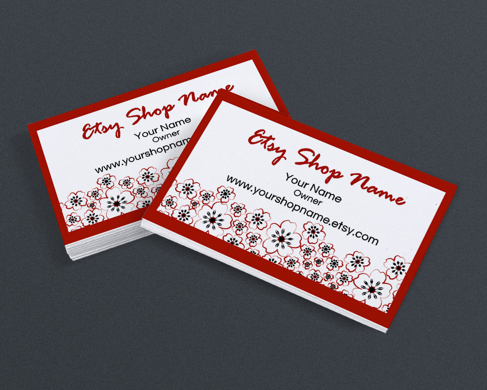 Chiyogami Inspired Red and Black Flower Blossoms - Printable Business Card Design