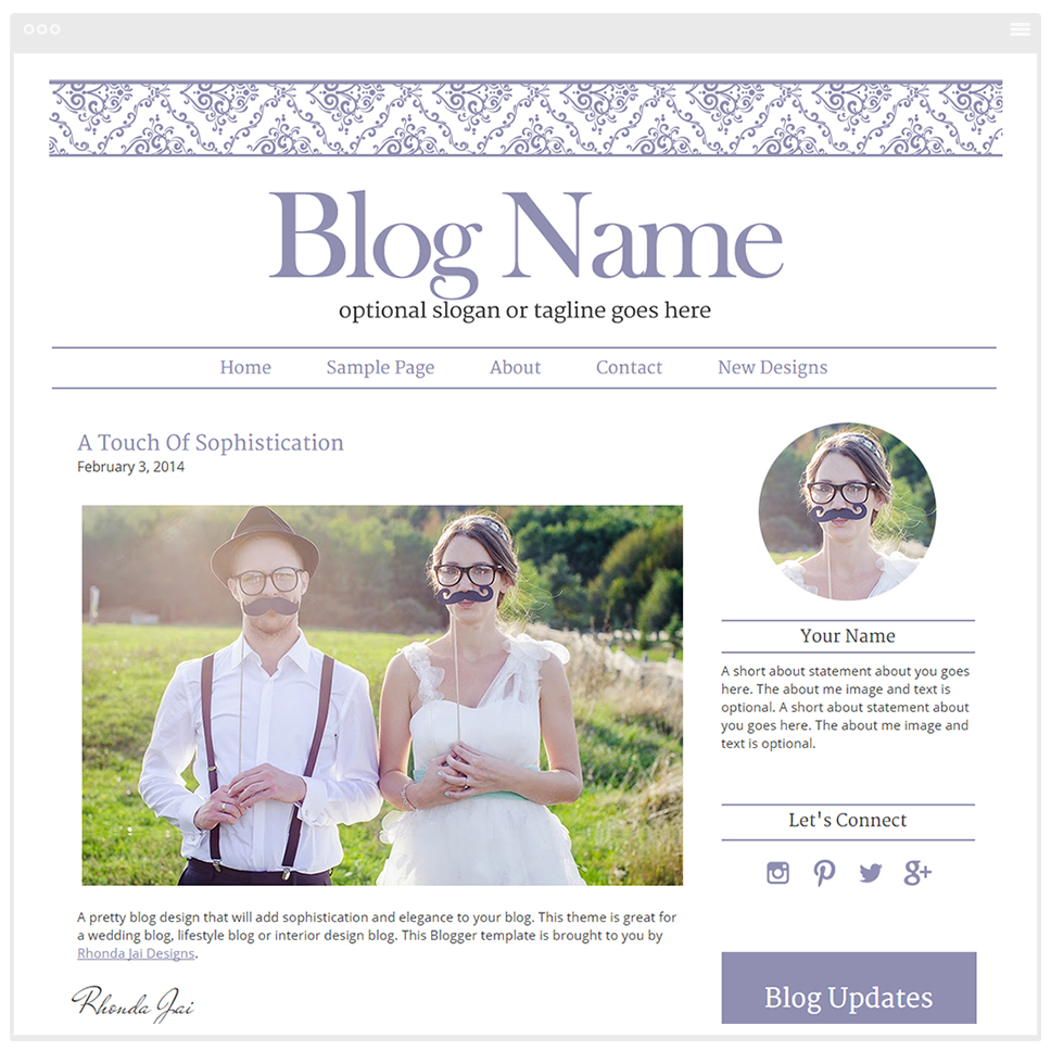 Damask Sophistication - Premium Blogger Template - Blog Design