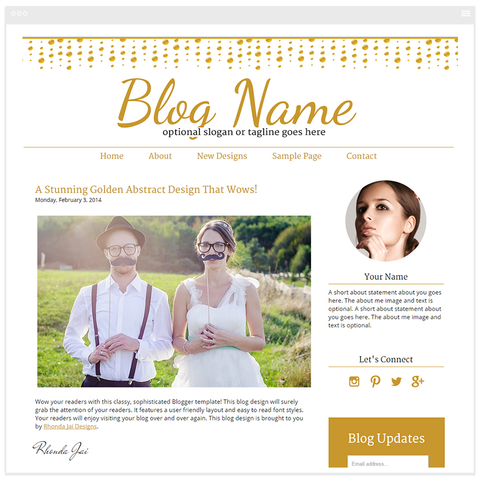 Golden Abstract - Premium Blogger Template - Blog Design