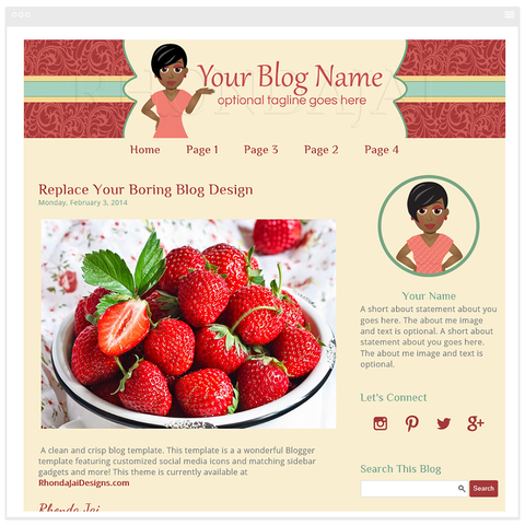 Blogger Template - Female Cartoon Character Three Blog Design - Sassy & Smart
