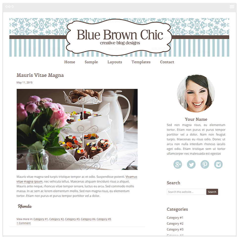 Blue Brown Chic - Mobile Responsive WordPress Theme - Genesis Child Theme and Framework