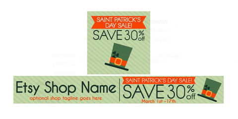 St Patrick's Day Etsy Shop Banner - Etsy Banner and Shop Icon Set - St. Patrick's Day Sale 1-16
