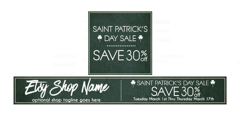 St Patrick's Day Etsy Shop Banner - Etsy Banner and Shop Icon Set - St. Patrick's Day Sale 2-16