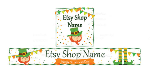 St Patrick's Day Etsy Shop Banner - Etsy Banner and Shop Icon Set - St. Patrick's Day - 2-16