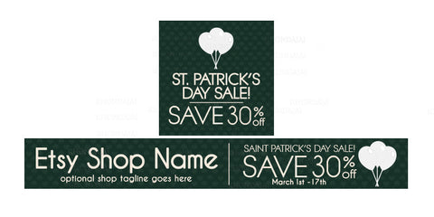 St Patrick's Day Etsy Shop Banner - Etsy Banner and Shop Icon Set - St. Patrick's Day Sale 3-16