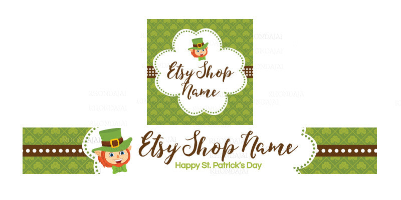 St Patrick's Day Etsy Shop Banner - Etsy Banner and Shop Icon Set - St. Patrick's Day - 4-16