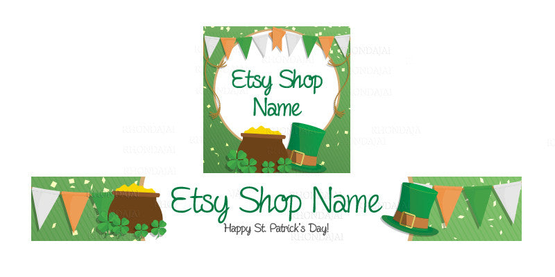 St Patrick's Day Etsy Shop Banner - Etsy Banner and Shop Icon Set - St. Patrick's Day 5-16