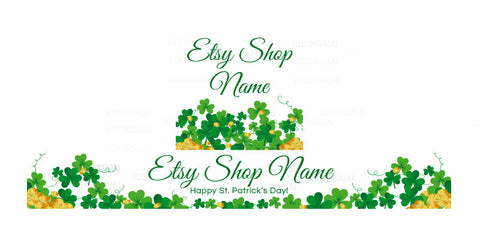 St Patrick's Day Etsy Shop Banner - Etsy Banner and Shop Icon Set - St. Patrick's Day 6-16