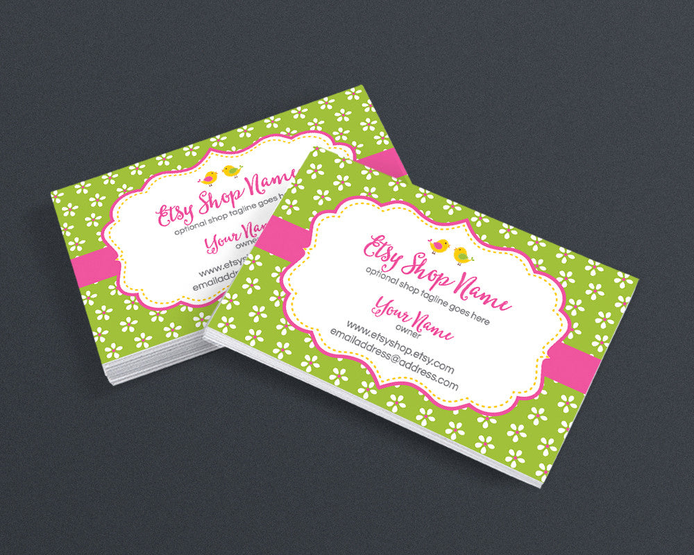 Business Card Design - Business Card Template - Boutique Business Card - Birdie and Blossoms