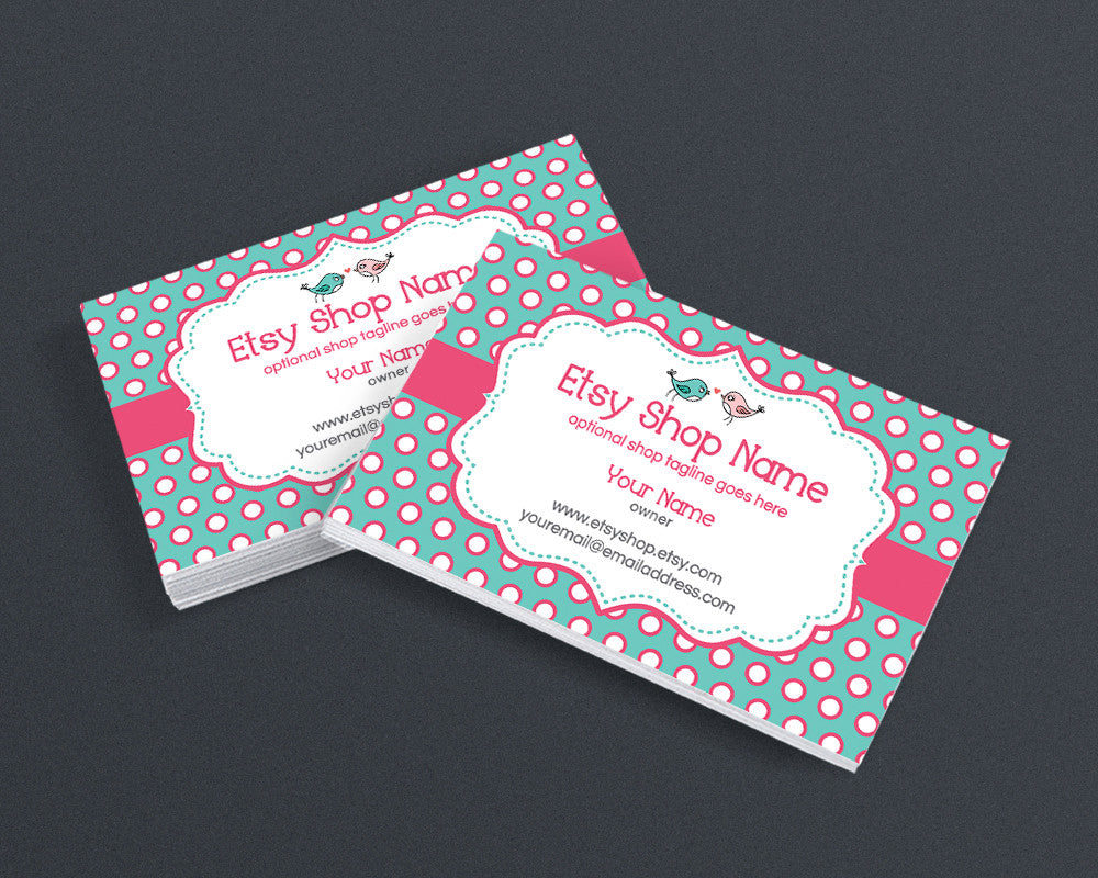 Business Card Design - Business Card Template - Boutique Business Card - Birdie Dots