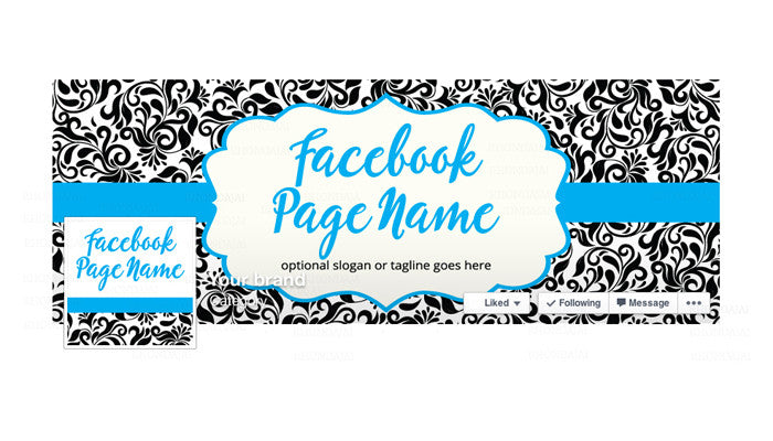 Facebook Banner - Facebook Timeline Cover with Profile Picture - Damask 4