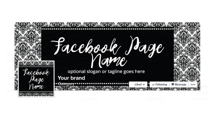 Facebook Banner - Facebook Timeline Cover with Profile Picture - Black & White Damask 1