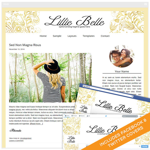 WordPress Design Bundle With Genesis Framework and Social Media Identities - Lille Belle
