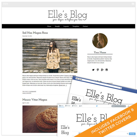 WordPress Design Bundle With Genesis Framework and Social Media Identities - Elle