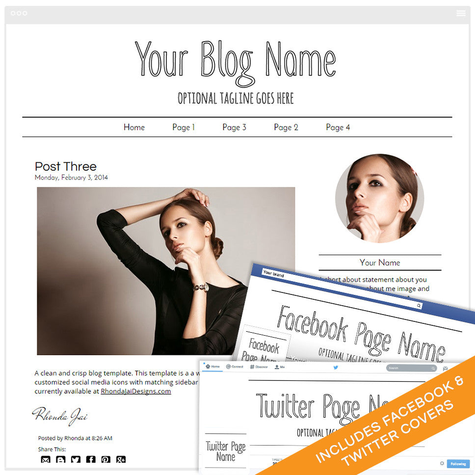 Blogger Design Bundle With Social Media Identities - Minimalist 4