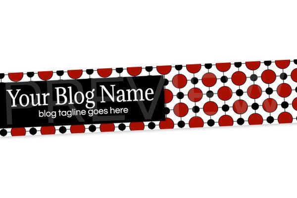Polka Dotted Blog Header Banner Design - Red and Black PS3-1