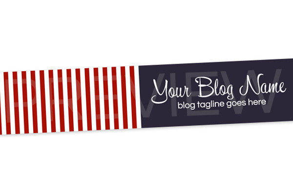 Striped Blog Header Banner Design - Red White Blue PS6