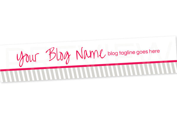 Blog Header Banner Design - Grey Pink 4 - Stripes