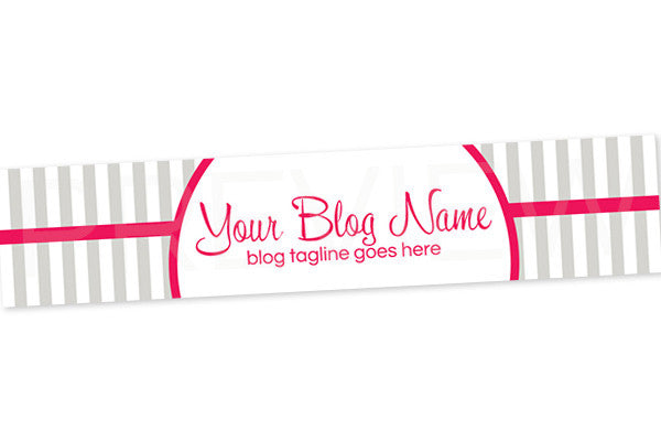 Blog Header Banner Design - Grey Pink 5 - Stripes