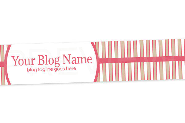Striped Blog Header Banner Design - Pink and Tan Elegance PS2