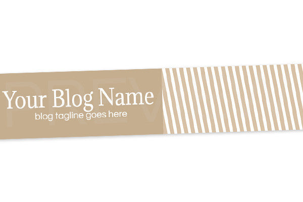 Striped Blog Header Banner Design - Tan Elegance PS3