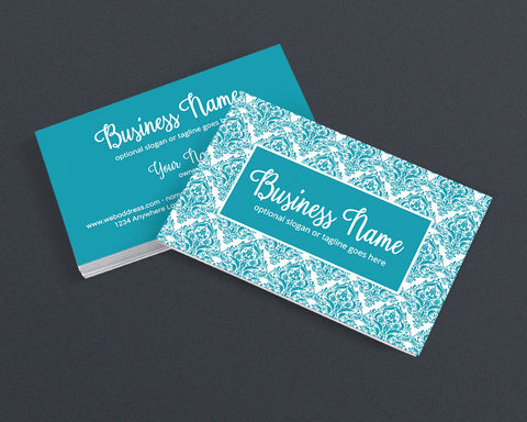 Blue Damask Business Card Design - Creative Business Card Design - Blue Damask 2