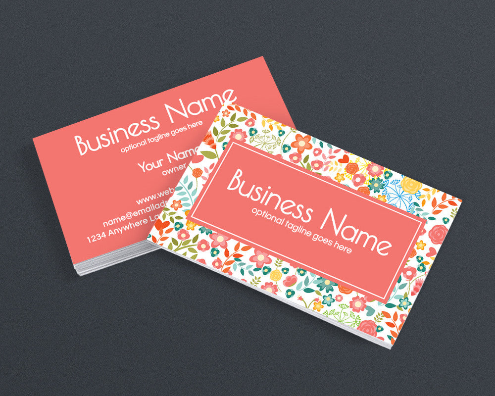 Floral Business Card Desig - 2 Sided Business Card Design - Cathy ...