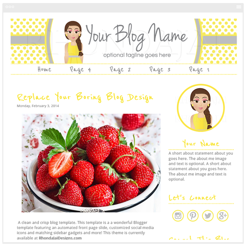 Blogger Template - Female Cartoon Character Four Blog Design - Graceful & Charming