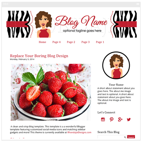 Blogger Template - Female Cartoon Character One Blog Design - Stylish & Fun