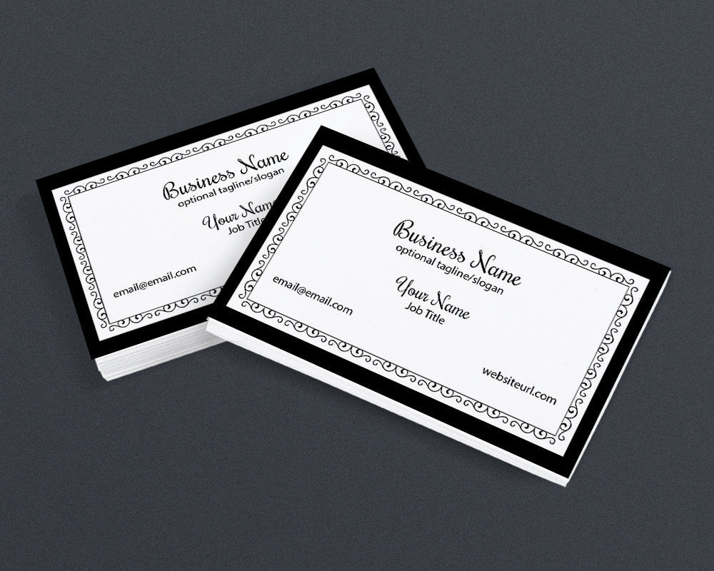Business Card Design - Chic 2 Black and White 2 - Printable Business Card