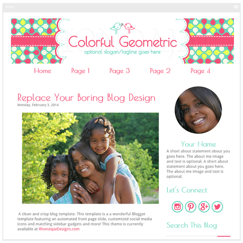 Colorful Geometric 1 - Blogger Template