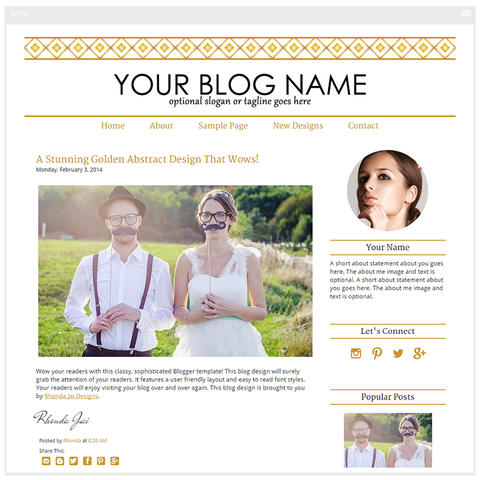 Gold Three - Premium Blogger Template - Blog Design