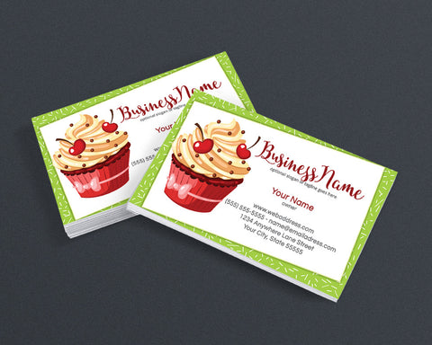 Bakery Business Card Design - Chef Business Card Design - Cupcake Business Card Design - Cupcake Delight 2