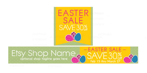 Etsy Easter Shop Banner - Etsy Banner and Shop Icon Set - Easter Etsy Banner - Easter Sale 3-16