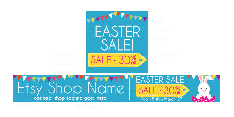 Etsy Easter Shop Banner - Etsy Banner and Shop Icon Set - Easter Etsy Banner - Easter Sale 4-16