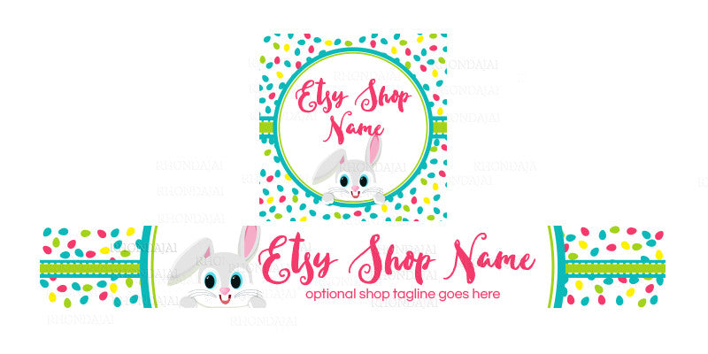 Etsy Easter Shop Banner - Etsy Banner and Shop Icon Set - Easter Etsy Banner - 4-16