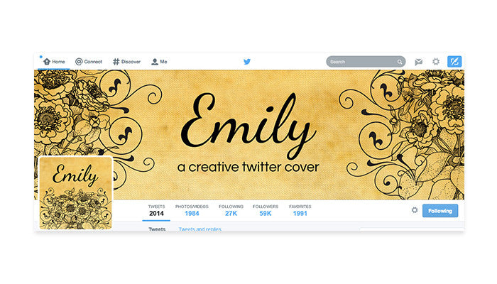 Twitter Cover with Profile Picture - Emily