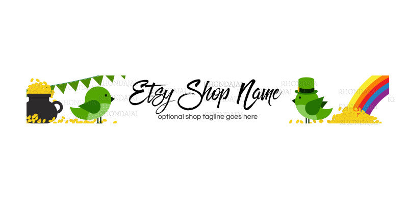 St. Patrick's Day Etsy Shop Banners - Etsy Banner s - Premade Etsy Banners - 1-16