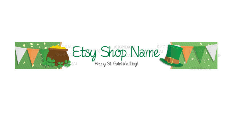 St. Patrick's Day Etsy Shop Banners - Etsy Banner s - Premade Etsy Banners - 5-16