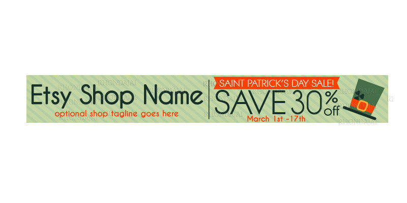 St. Patrick's Day Etsy Shop Banners - Etsy Banner s - Premade Etsy Banners - Sale 1