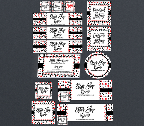 Etsy Pro Branding Package - Contemporary Etsy Branding Set - Black, Red & White Confetti Fun